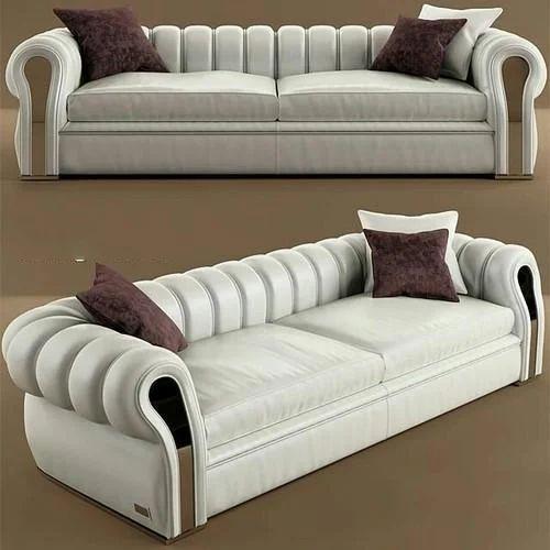 White Leather Two Seater Designer Sofa