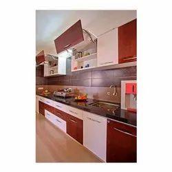 Wooden Straight Modular Kitchen Interior Design