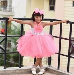 Pink and White Net Cute Pari Frock, 0-8 Years