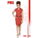 Red Party Wear Girls Dotted Western Dress