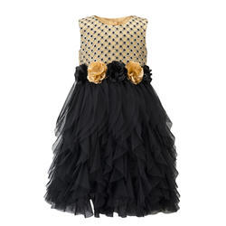 Polyester and Cotton Sleeveless Black Dresses For Tweens, Age: 3-5 Years