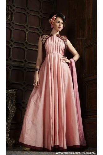 A Line Flared Indian Prom Dresses Evening Maroon Gown Of Taf, Size ...