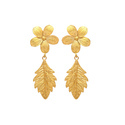 Hot Flower Mix Leaf Plain Micron Gold Plated Changeable Earring
