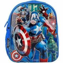 Unisex Blue Avengers Team Printed Polyester School Bags, Capacity: 10kg