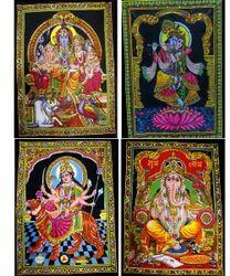 Indian Gods & Goddess Sitara Batik Cotton Wall Hangings