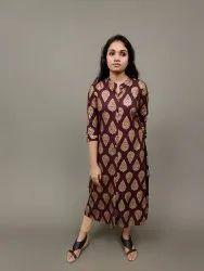 Casual Wear A Line Brown Rayon Gold Foil Printed Kurti, Wash Care: Handwash