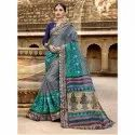 Multi Designer Casual Wear Organza Silk Saree And Navy Blue Blouse