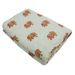 Brown Handmade Tie Dye Printed Baby Blanket 100% Cotton Kantha Work