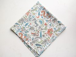 Myyra Hand Block Printed Cotton Handkerchiefs, Size: 40 x 40 Cms