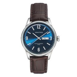 Armitron Deep Creek 40mm Blue 20 5048NVSVBN Mens Brown Croco Grain Leather Strap Watch