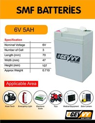 Gevvy 6V 5ah Lead Acid Batteries Imported