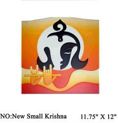 Modern Art Square Wood Wall Hanging Krishna