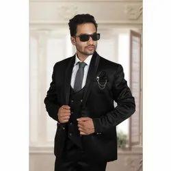 Plain Men Black Evening Wear Suit