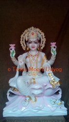 Laxmi Statue In White Marble