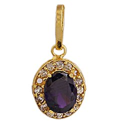 Oval Blue Sapphire Fashion Pendant Golden Color Brass Casting Synthetic Stone