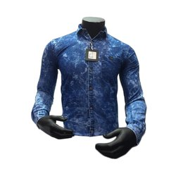 Info Blue Mens Full Sleeve Denim Shirt