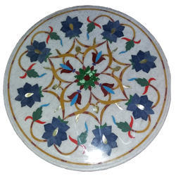 White Marble Pietredura Italian Inlay Table Top