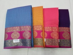 3 To 4 Color Cotton Base Saree, With Blouse, 6 m