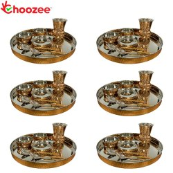 Choozee - Copper Thali Set of 6 (42 Pcs) Thali, Bowl, Spoon & Matka Glass
