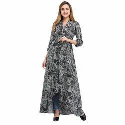 Cottinfab Printed High-Low Dress