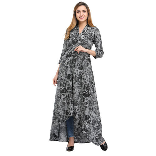 Rayon Cottinfab High-Low Printed Dress Size: S, M, L, XL and XXL