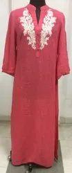 Cotton Casual Wear Embroidery Straight Kurti, Wash Care: Machine wash