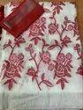 Silk Linen Embroidery Saree