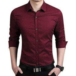 Cotton Collar Neck Dotted Red Shirt