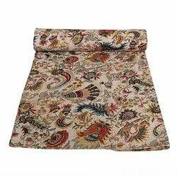 Indian Beautiful Floral Print Kantha Quilt Reversible Cotton Bedspread Handmade Bed Cover