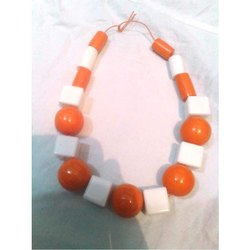 Orange and White Fashionable Resin Necklace