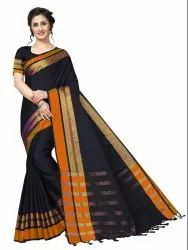 Cotton Silk Party Wear Black Saree With Blouse Piece