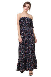 0bbae741a Chiffon Off Shoulder and Floral Printed Maxi Dress