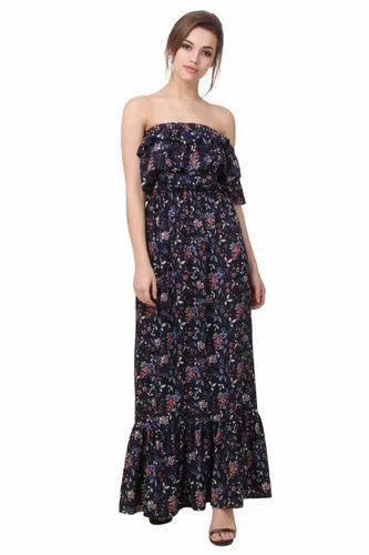 Chiffon Off Shoulder And Floral Printed Maxi Dress c90d0f06f