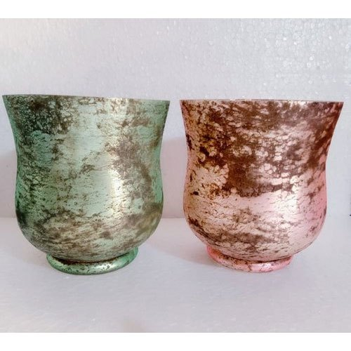 Green And Pink Foil Glass Hurricane Vase, Shape: Round