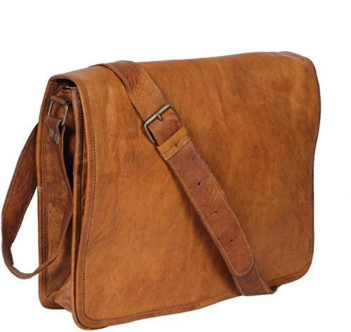 df72dacf675a Leather Bags Real Full Flap Crossbody Satchel Laptop Messenger Bag For Men  Women