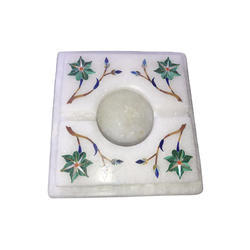 White Marble Cigarette Ashtray With Inlay
