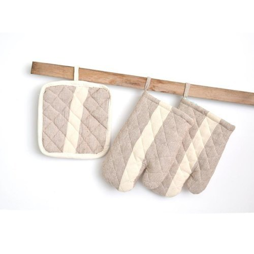 Hand Weaved Striped Cotton Gloves And Pot Holder