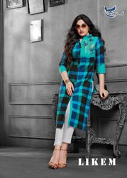 Likem-Seriema Beautiful Design Pure Heavy Cotton With Embroidery Work Straight Long Kurtis