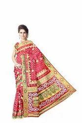 All Over Maroon Color Fancy Design Work Art Silk Bandhani Saree