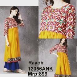 Rayon Kurta With Printed Fabric