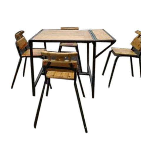 Iron Budget Outdoor Dining Table Set, Outdoor Trestle Table