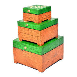 Wooden Mirinda Box Set Of 3 Home Decor