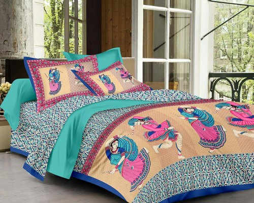 Cotton Traditional Printed Double Bed Sheet