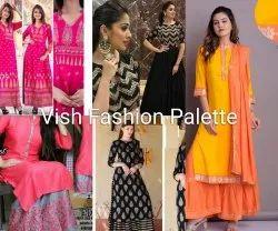 Party Wear 3/4th Sleeve Vish Fashion Palette Trendy Kurti Palazzo