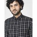 Green Hill Men's Checkered Casual Black Shirt