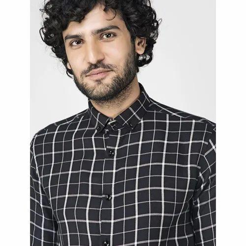 Green Hill Men\'s Checkered Casual Black Shirt