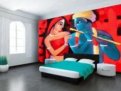 Lord Krishna Painted Wall Paper