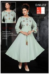 Reon Party Wear Ladies Anarkali Kurti, Wash Care: Dry clean