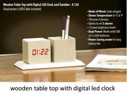 Wooden Table Top with Digital LED Clock