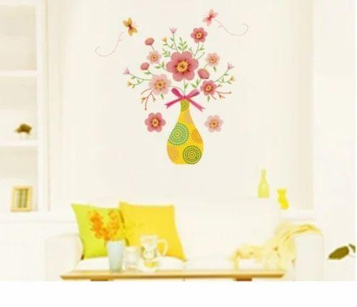 flower pot wall sticker at rs 198 | flower sticker | id: 16036342388